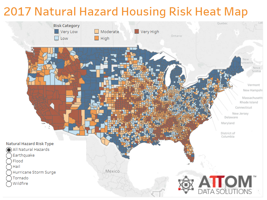 Risk of Any Natural Disasters Across the United States.
